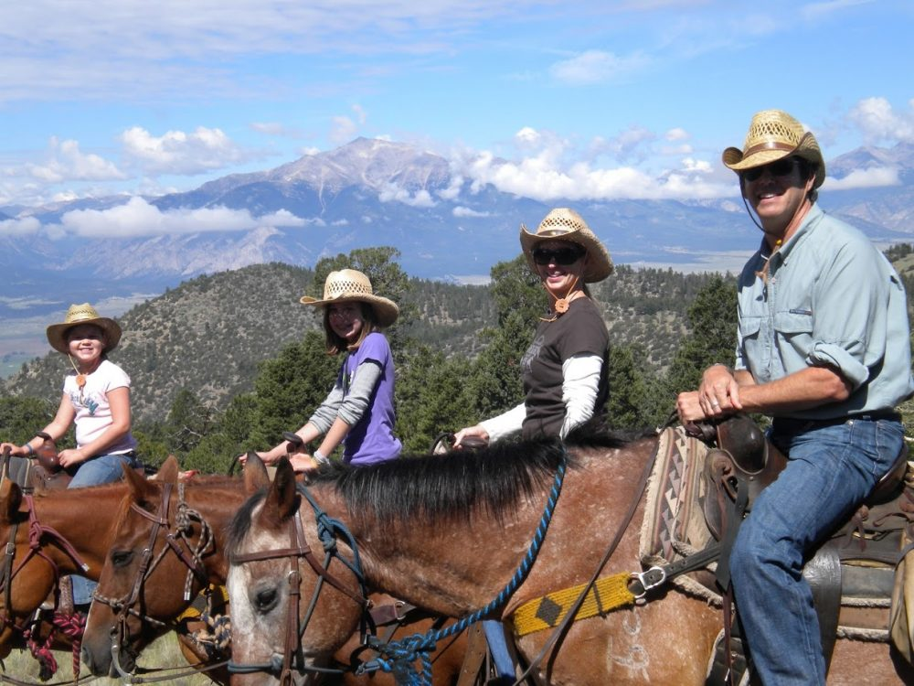 Elk Mountain Guest Ranch, Colorado, family saddles up on the trail, Ranch Rider